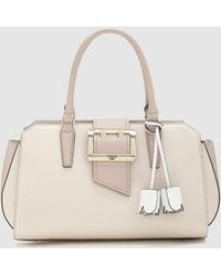 Guess - Pink Bowling Bag With Buckle Detail On The Front - Lyst