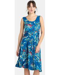Yera - Short Leaf Print Dress - Lyst