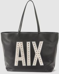 Armani Exchange - Black Shopper Bag With Front Logo - Lyst