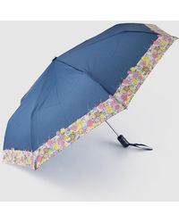 Caminatta - Navy Blue Fold-up Umbrella With Printed Detail - Lyst