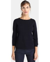 Yera - Navy Blue Jumper With Vertical Textured Bands - Lyst