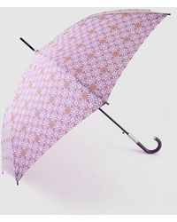 Caminatta - Long Umbrella With Mauve Geometric Print - Lyst