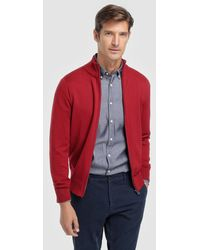 Tommy Hilfiger - Red Zip-up Cardigan - Lyst