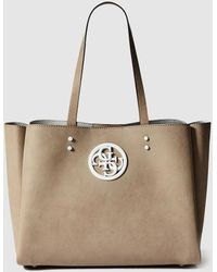 Guess - Camel Shopper Bag With Front Logo - Lyst