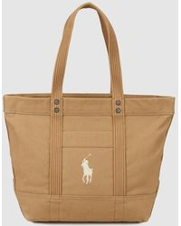 Polo Ralph Lauren - Brown Canvas Tote Bag With A Brand Detail - Lyst