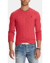 Polo Ralph Lauren - Red Sweater With A Round Neck - Lyst