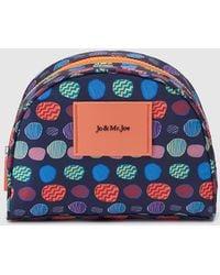 Jo & Mr. Joe - Navy Blue Toiletry Bag With Multicoloured Print - Lyst