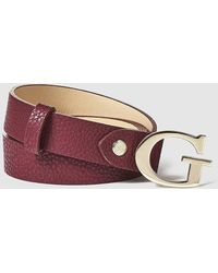 Guess - Burgundy Belt With Golden Buckle - Lyst