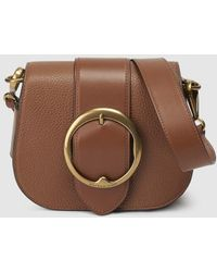 0bc6513e237 Polo Ralph Lauren - Small Brown Leather Crossbody Bag With Buckle - Lyst
