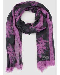 Armani | Grey Foulard With A Purple Print | Lyst