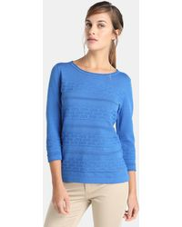 Yera - Blue Jumper With Horizontal Textured Bands - Lyst