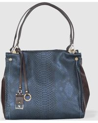 Robert Pietri - Blue Tote Bag With Snakeskin Finish - Lyst