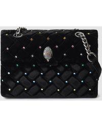 Kurt Geiger - Kensington Black Velvet Shoulder Bag With Multicoloured Rhinestones - Lyst