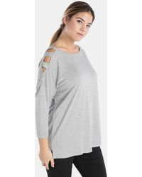 Couchel - Plus Size T-shirt With French Sleeves And Vents - Lyst