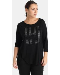 Couchel - Plus Size Black T-shirt With Studs - Lyst
