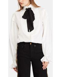 aefe9651c6e46f Polo Ralph Lauren Silk Georgette Necktie Blouse in Black - Lyst