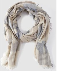 Gloria Ortiz - Blue And Beige Printed Foulard With Frayed Edges - Lyst