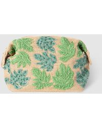 El Corte Inglés - Tan Raffia Toiletry Bag With Embroidered Leaves - Lyst