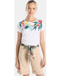 Yera - Bermuda Shorts With A Printed Bow At The Waist - Lyst