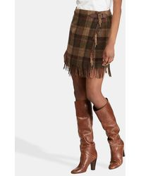 Polo Ralph Lauren - Fringe-trim Plaid Wool Skirt - Lyst