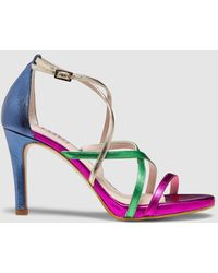 Lodi | Metallic Leather High-heel Sandals With Multicoloured Straps | Lyst