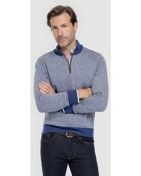 Mirto - Blue Sweater With A Polo Neck - Lyst