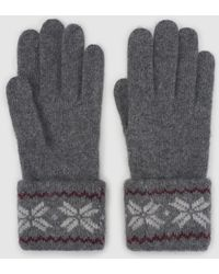 El Corte Inglés - Grey Knitted Gloves With Print - Lyst