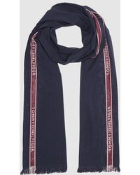Tommy Hilfiger - Navy Blue Cotton Foulard With Red Side Stripe - Lyst