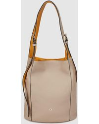 Georges Rech - Beige Leather Hobo Bag With Mustard Details - Lyst
