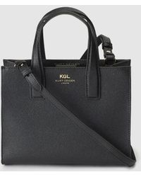 Kurt Geiger - London Black Saffiano Leather Tote Bag With Magnet - Lyst