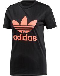 6b1894bc adidas Originals Tape Longsleeve Crop T-shirt in Black - Lyst