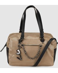 Robert Pietri - Taupe Bowling Bag With Metallic Effect And Outer Pocket - Lyst