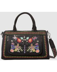 Desigual - Camden Dublin Black Bowling Bag With Front Embroidery - Lyst