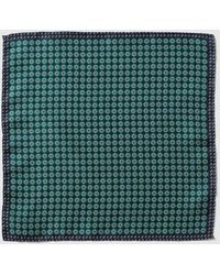 Mirto - Green Embellished Print Silk Pocket Square - Lyst