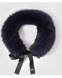 Gloria Ortiz - Navy Blue Natural Fur Cowl With Ribbon - Lyst