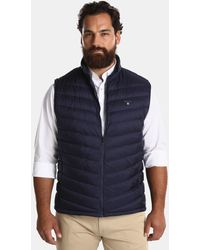 GANT - Big And Tall Quilted Blue Gilet - Lyst