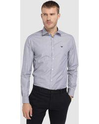 Emporio Armani - Regular-fit Plain Blue Shirt - Lyst