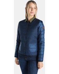 indi & cold - Short Blue Print Puffer Coat - Lyst