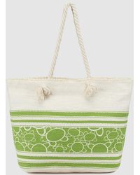 Caminatta - Two-tone Green And White Cotton Shopper Bag With Fringe - Lyst
