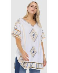 Couchel - Plus Size Short Dress With Colourful Embroidery - Lyst