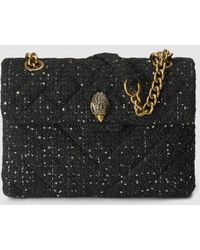 Kurt Geiger - Kensington Large Black Tweed Crossbody Bag With Sequins - Lyst