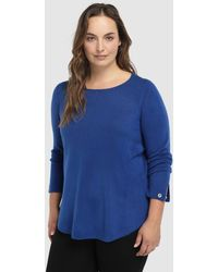 Couchel - Plus Size Blue Jumper With Eyelets On The Cuffs - Lyst