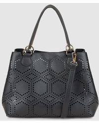 El Corte Inglés - Small Black Shopper Bag With Perforations - Lyst