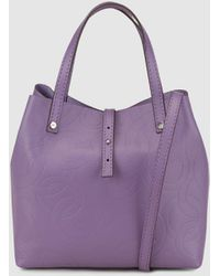 Gloria Ortiz - Sofia Stamp Lilac Leather Mini Shopper Bag With Logo Embossing - Lyst