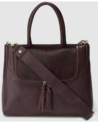 Gloria Ortiz - Antonella Burgundy Leather Handbag With Fur Detail - Lyst