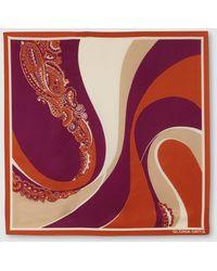 Gloria Ortiz - Deco Waves Orange Printed Silk Handkerchief - Lyst