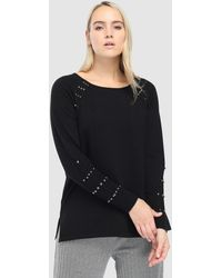 Couchel - Plus Size Black Jumper With Beading - Lyst