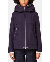 Esprit - Navy Blue Parka With A Wide Collar - Lyst