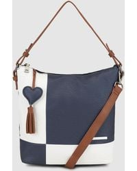 Caminatta - Navy Blue And White Colour Block Hobo Bag With Zip - Lyst