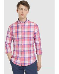 Izod - Regular-fit Red Checked Shirt - Lyst